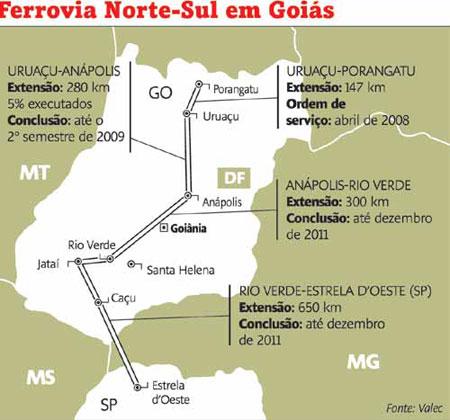 A expectativa é de que os trilhos cheguem do Tocantins até Goiás também em  2010. A obra foi incluída no Programa de Aceleração do Crescimento (PAC)  (Redação ... b3fcfb64fb